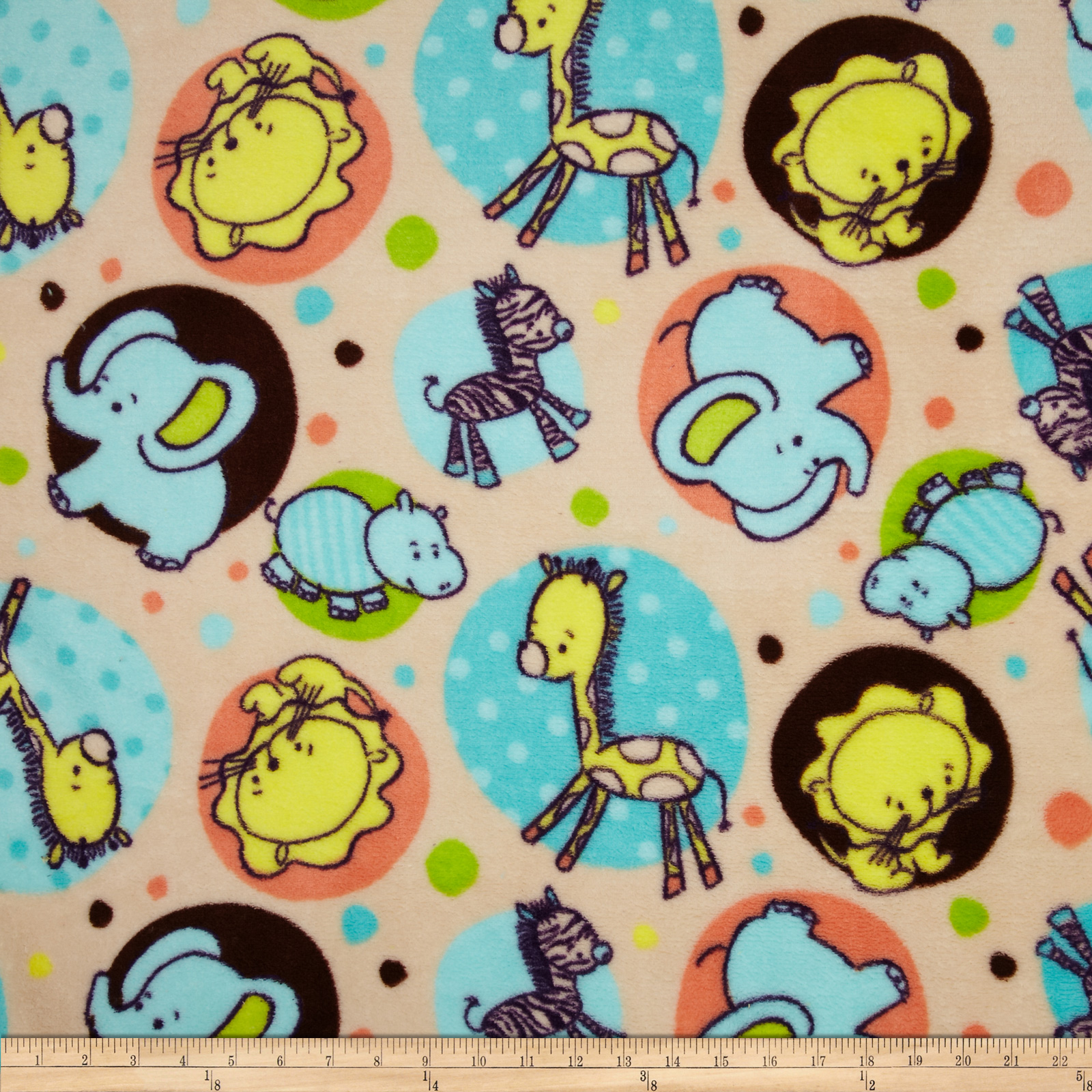 Plush Coral Fleece Zoo Animal Dots Cream Fabric