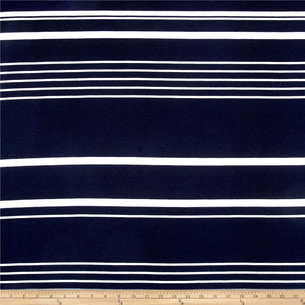 Liverpool Double Knit Multi Stripe Navy