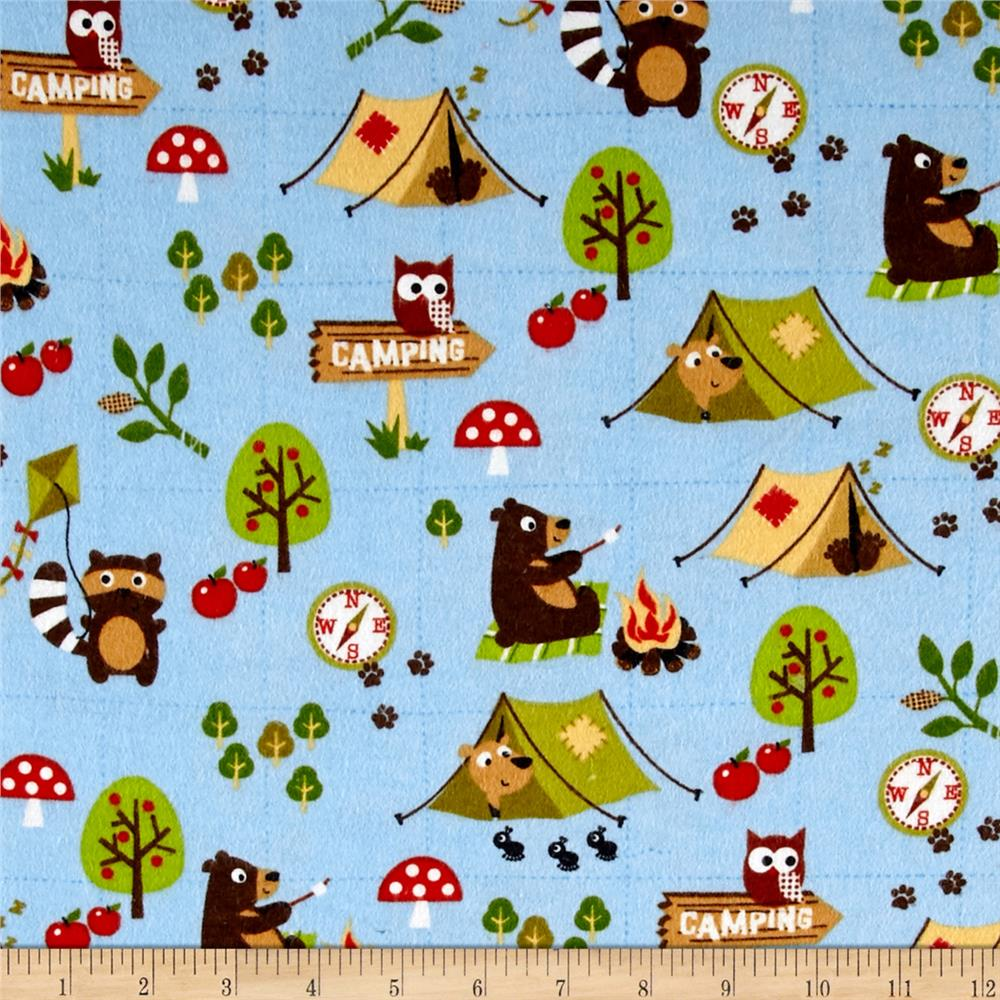 Comfy Flannel Camping Animals Blue