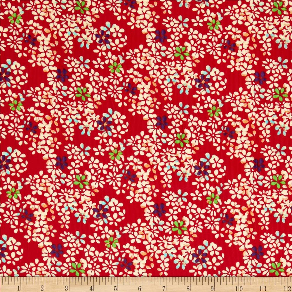 21 Wale Corduroy Floral Red/Cream/Multi