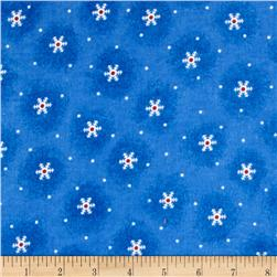 Flannel Tossed Snowflakes Blue