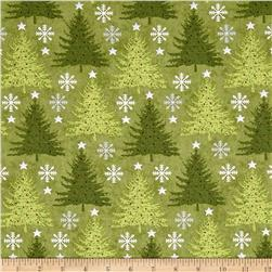 Holiday Meadow Trees Allover Green