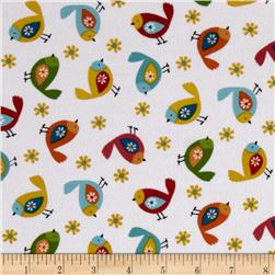Woodland Friends Flannel Birds White/Multi