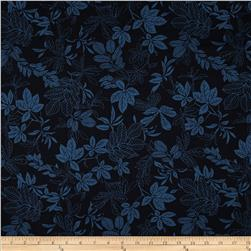 "108"" Wide Quilt Back Modern Leaf Navy Blue"