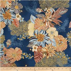 Kaya Metallic Large Ornate Floral Blue/Gold Fabric