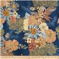 Kaya Metallic Large Ornate Floral Blue/Gold
