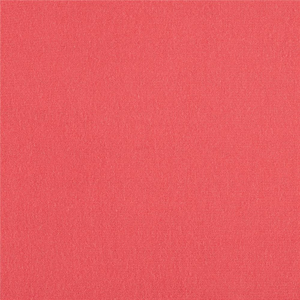 Rayon Jersey Knit Solid Coral Fabric