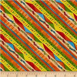 Kitten Capers Numbers Diagonal Stripe Multi