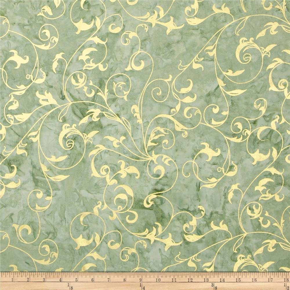 Indian Batiks Metallic Scroll Green
