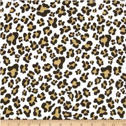 Rib Knit Animal Spots White/Brown