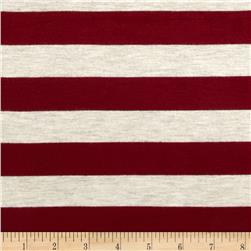 Stretch Rayon Jersey Knit Large Stripe Ruby/Oatmeal