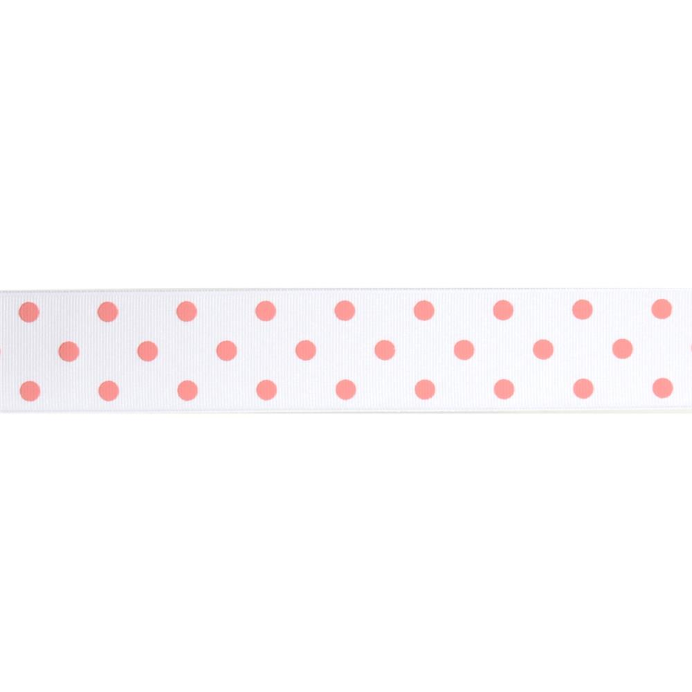 "1 1/2"" Grosgrain Rev Dot Ribbon Pink"