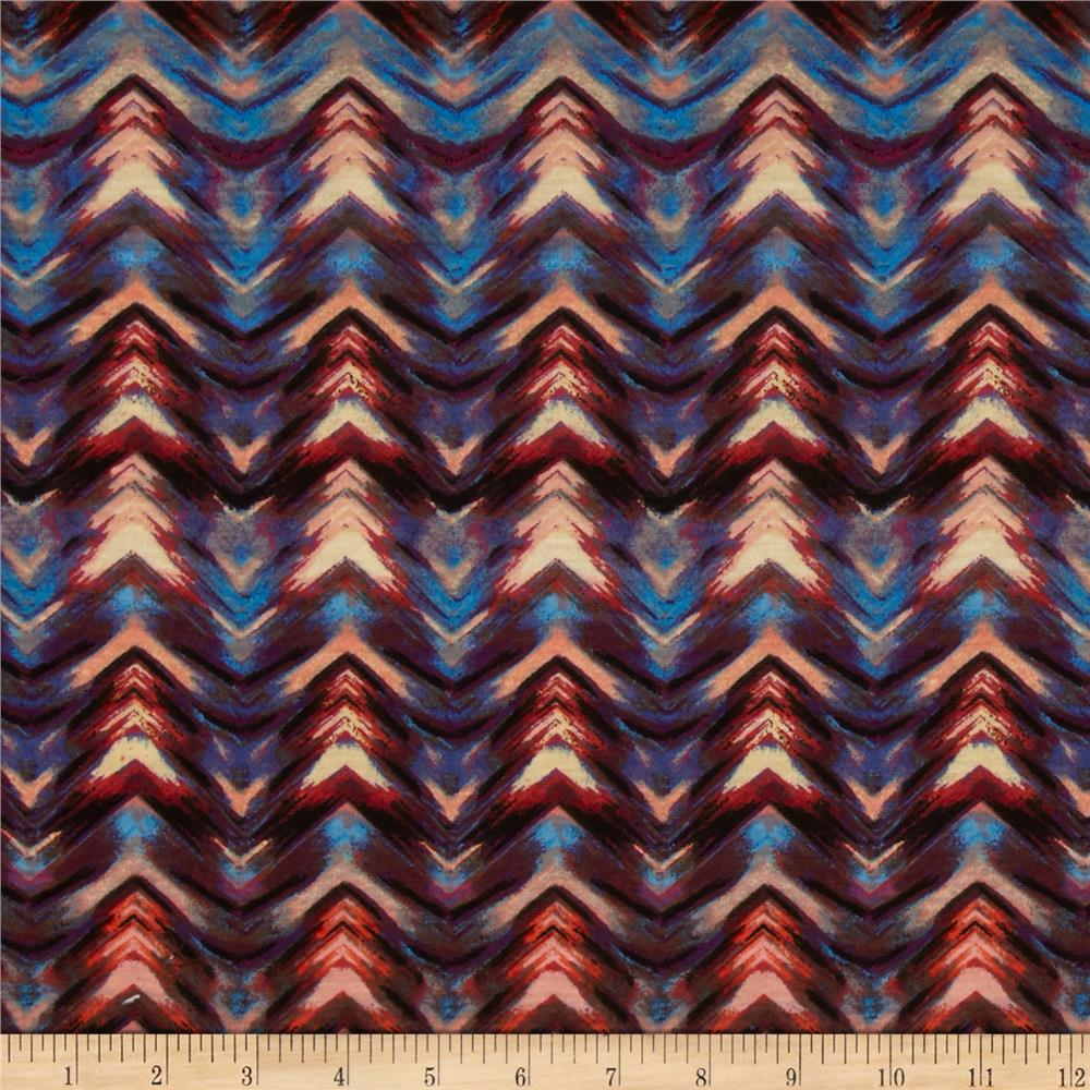 Stretch Jersey Knit Chevron Illusion Blue/Coral/Purple