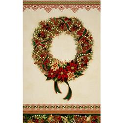 Robert Kaufman Holiday Flourish Metallic 24 In. Wreath Panel Holiday