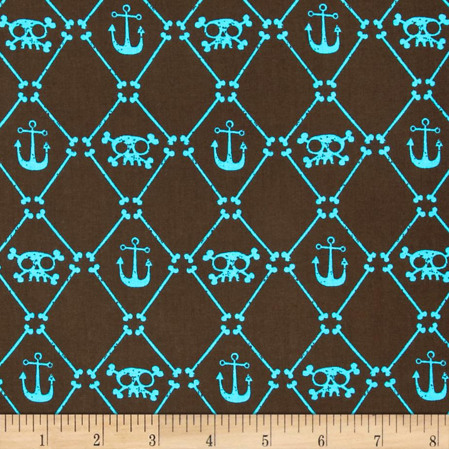 Pirate Plaid Skulls and Anchors Brown/Aqua