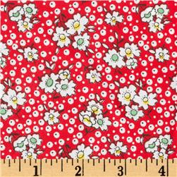 Polyester Voile Floral Red