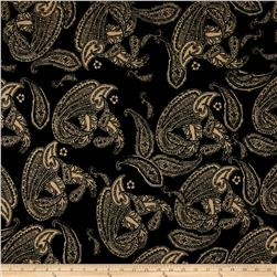 Alanna Resort Stretch ITY Knit Paisley Prints Black/Taupe