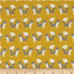 Fanfare Organic Flannel Foxes Gold Fabric