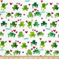 Timeless Treasures Hop To It Watercolor Frogs White