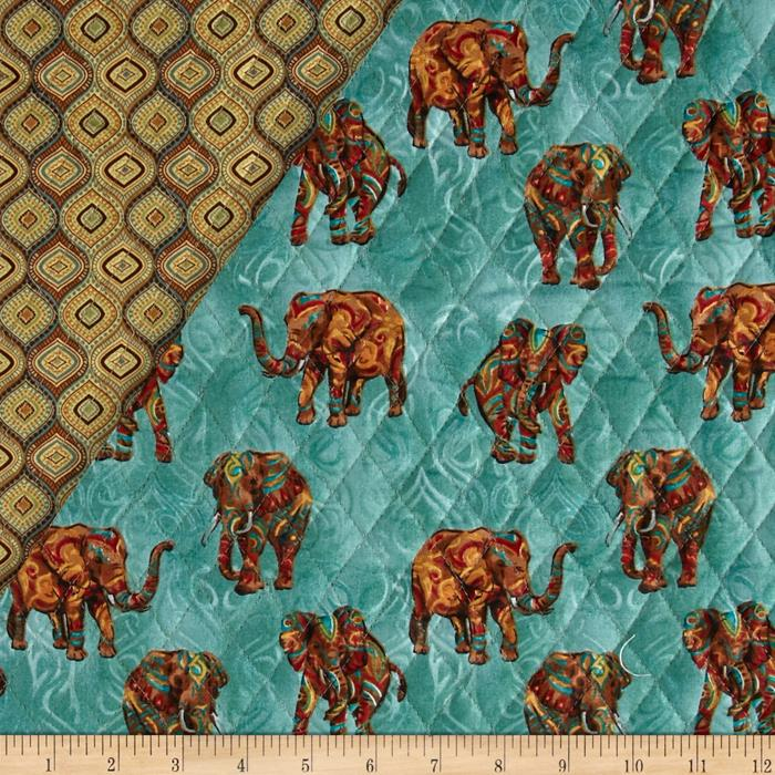 Tribal Instincts Double Sided Quilted Tribe Elephant Neutral ... : double faced quilted fabric - Adamdwight.com