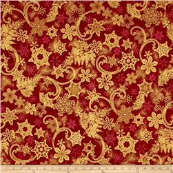 Kaufman Holiday Flourish Metallics Snowflakes Crimson