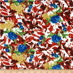 Posh Poly Shirting Floral Red/Blue
