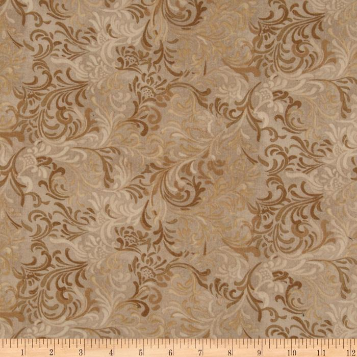"108"" Flourish Quilt Backing Tan"