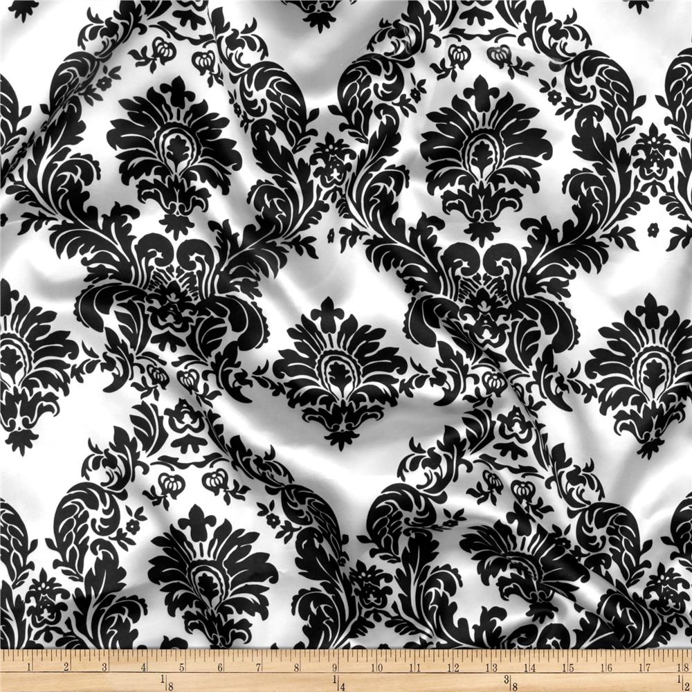 Charmeuse Satin Damask White/Black Fabric