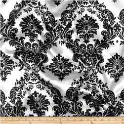 Charmeuse Satin Damask Black/White Fabric