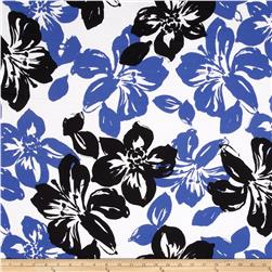 Stretch Poplin Floral Black/Periwinkle/White