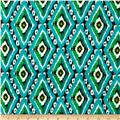 Rayon Challis Ikat Diamonds Aqua