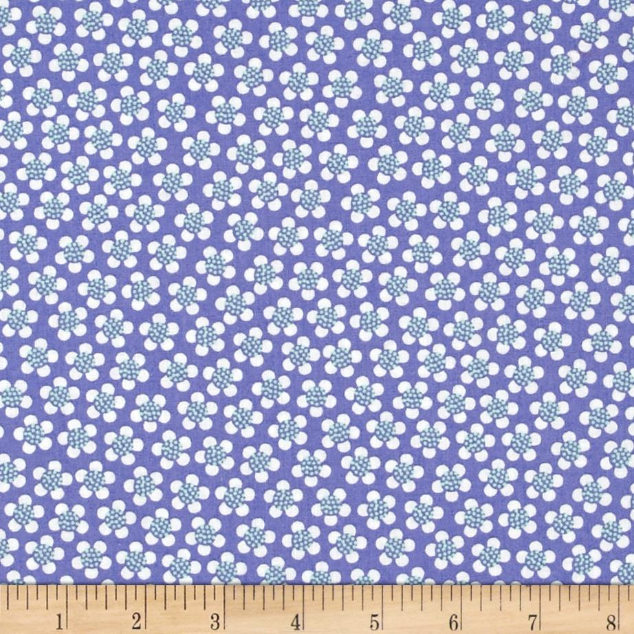 Kanvas Funny Bunnies Ditsy Daisy Purple Fabric