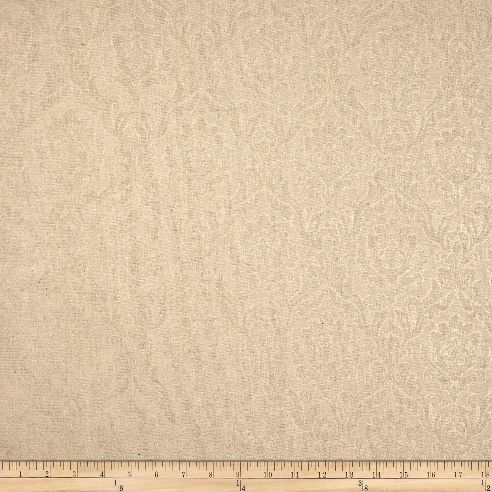 Espera Damask Linen Blend Natural Fabric