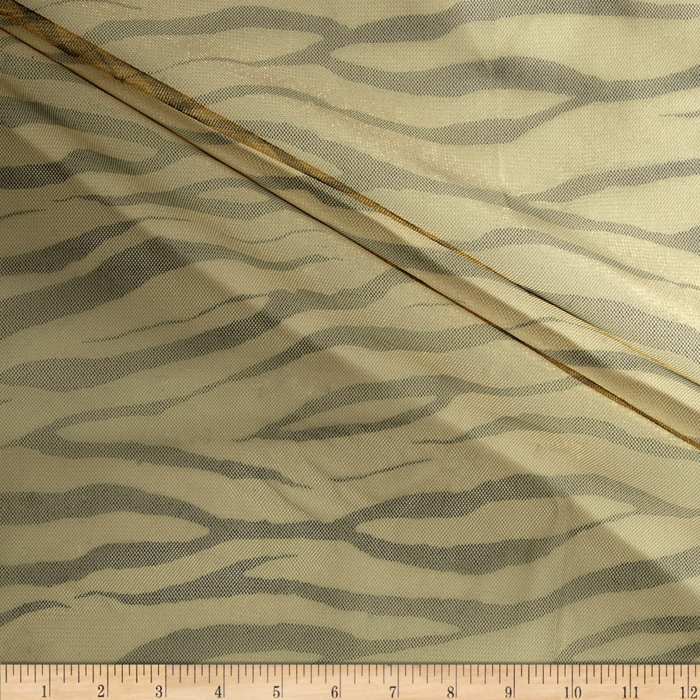 Zebra Print Tulle Antique Gold Fabric