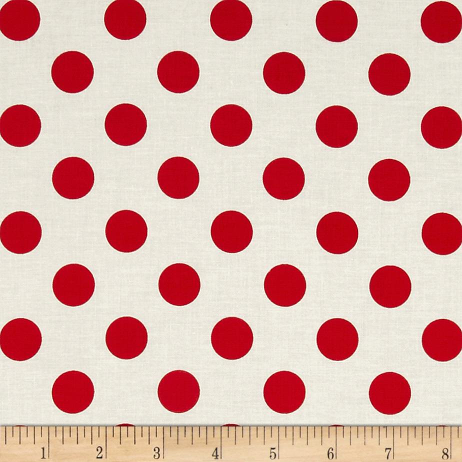 Riley Blake Le Creme Basics Medium Dots Cream/Red