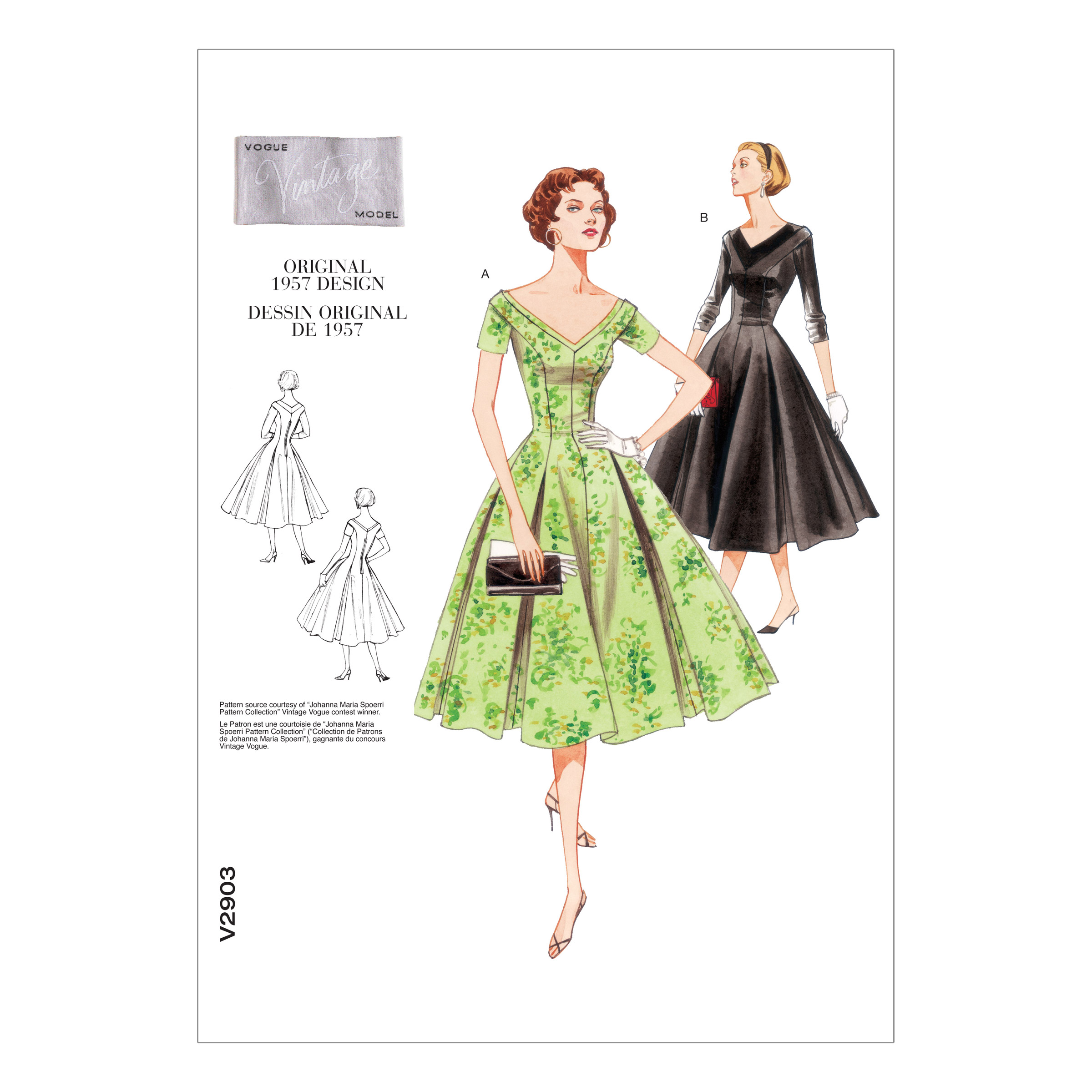 1950s Sewing Patterns | Swing and Wiggle Dresses, Skirts 1957 Vogue MissesMisses Petite Dress Pattern V2903 Size 0A0 $19.98 AT vintagedancer.com