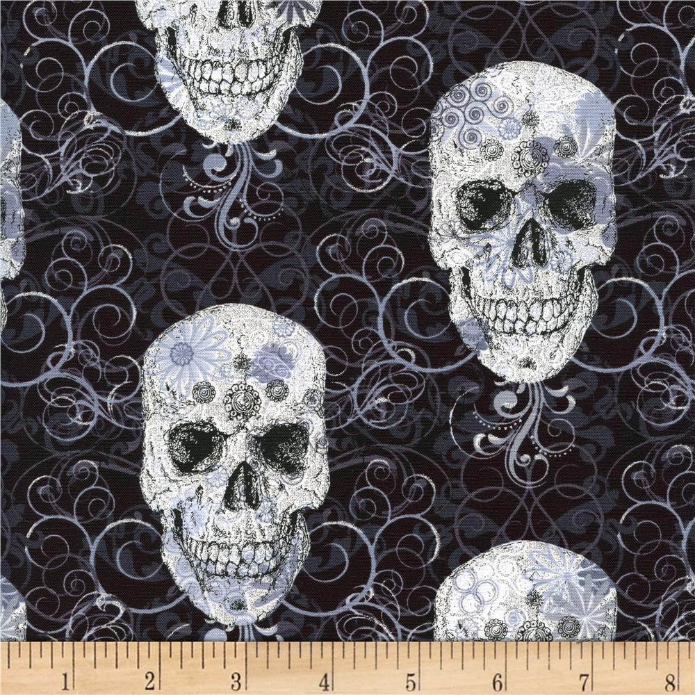 Timeless Treasures Skulls Metallic Black