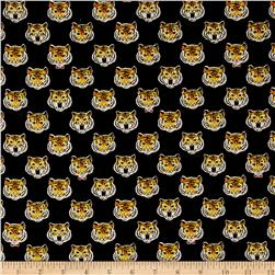 Cosmo Animals Tiger Head Cotton Linen Blend Black