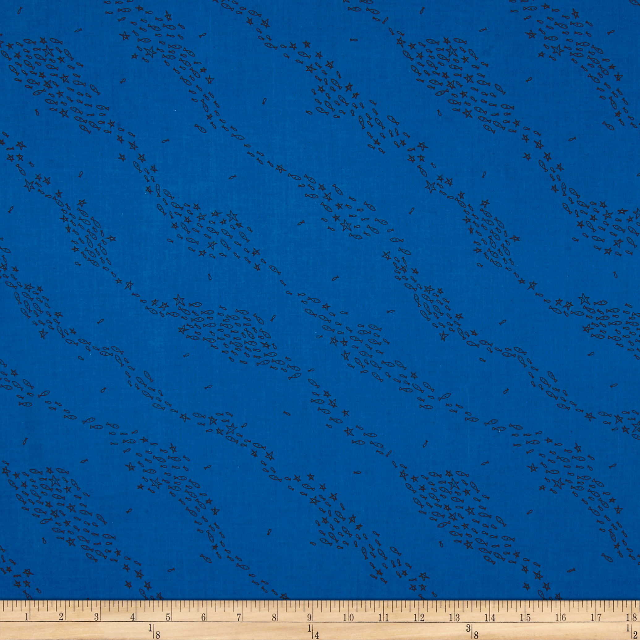 Image of Cotton + Steel Kujira & Star School Marine Fabric