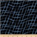 Sketchbook Diagonal Wavy Plaid Black/Blue