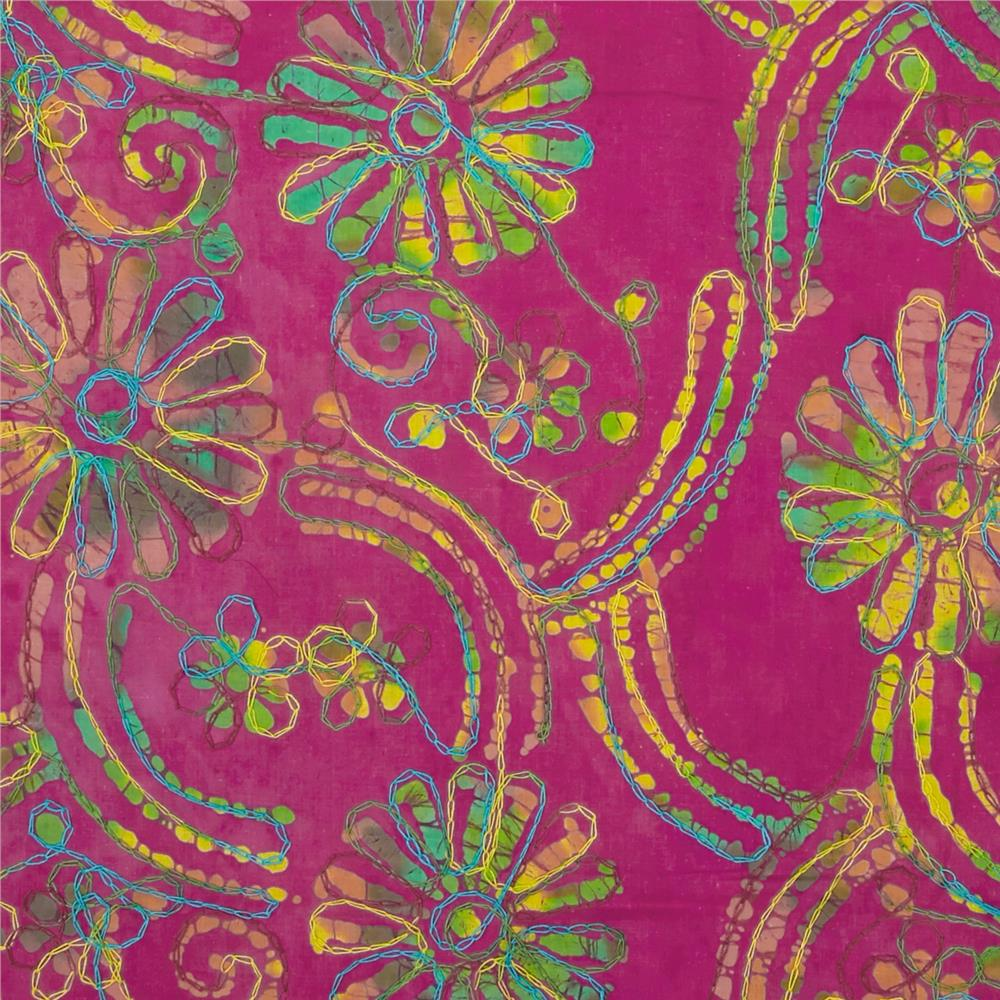 Embroidered Indian Batik Floral Fuschia