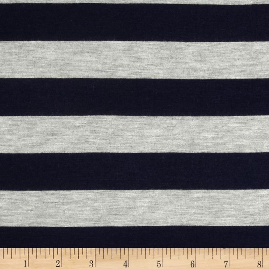 Stretch Rayon Jersey Knit Large Stripe Navy/Heather Grey Fabric By The Yard