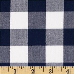 Woven 1'' Cotton Carolina Gingham Navy