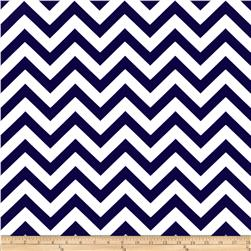 Premier Prints Zig Zag Twill Navy Blue/White Fabric