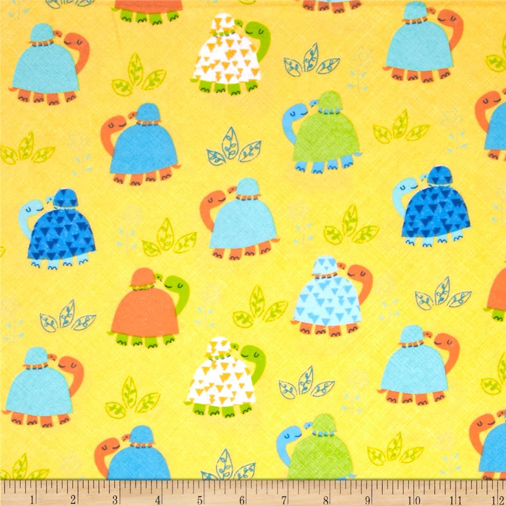 Timeless Treasures Flannel Turtles Yellow
