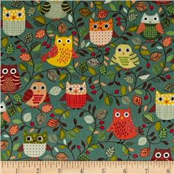 Forest Friends Owls Red/Brown/Gold/Green
