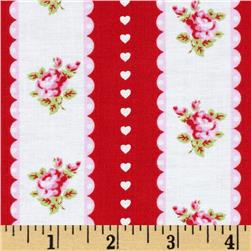 Tanya Whelan Valentine Rose Ticking Stripe Red