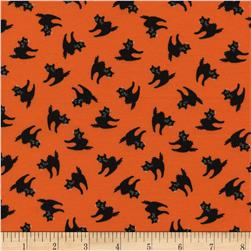 Timeless Treasures Halloween Minis Black Cats Orange Fabric
