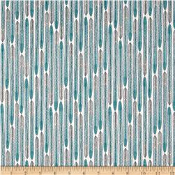 Cloud 9 Organic Biology Feathers Turquoise Fabric