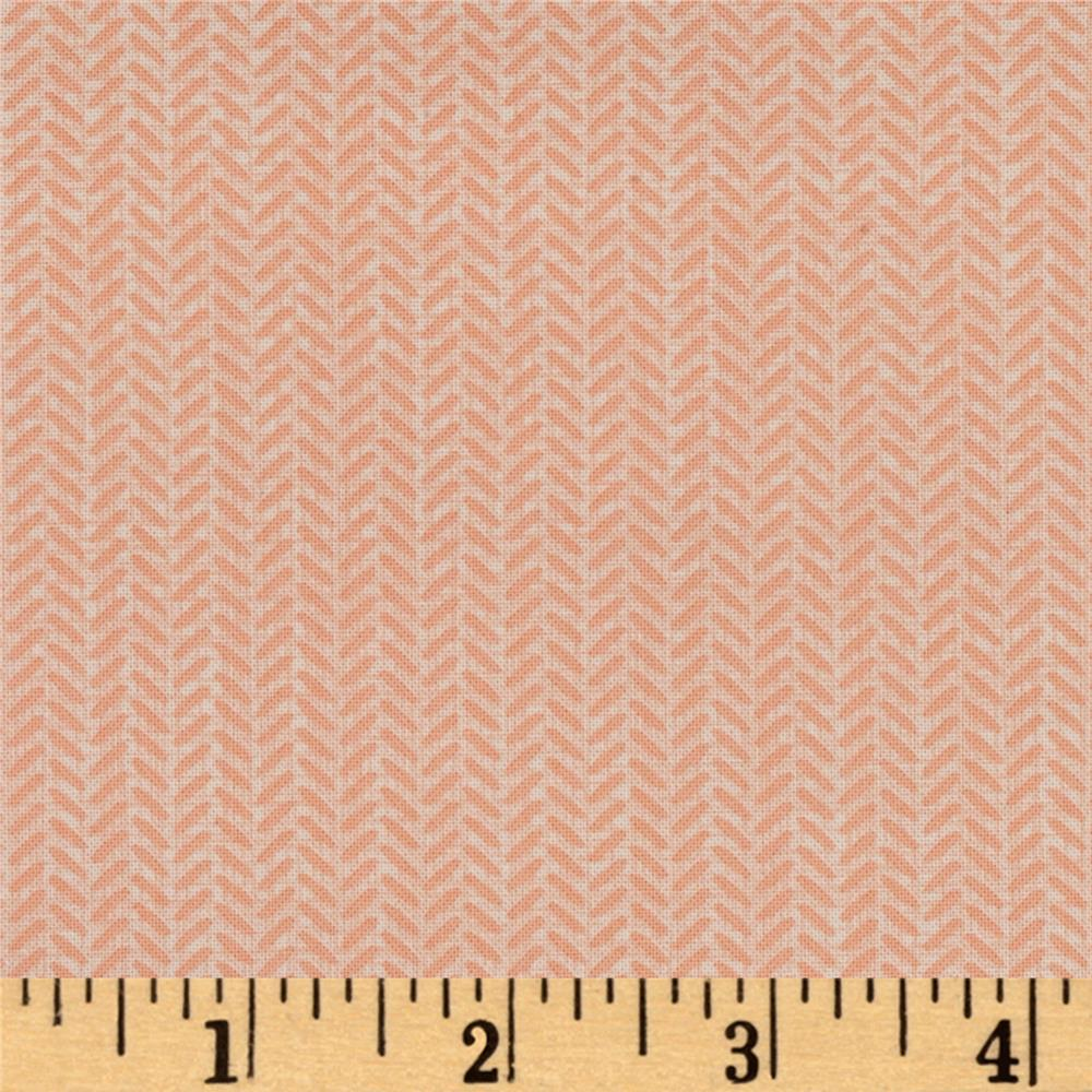 Moda Lullaby Herringbone Peach/Cloud